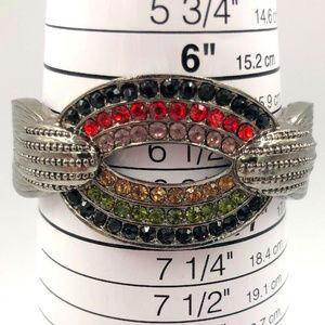 vintage red black rhinestone clamper bracelet